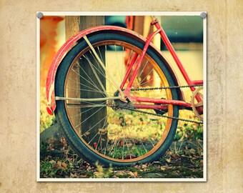 Bicycle Photography Retro Rusted Orange-- Fine Art Lomography 10x10
