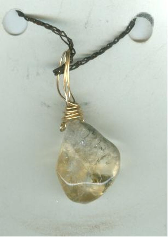 Stone & 14kt wire wrap pendant