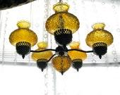 70's vintage BRaSS/WooD hanging CHANDELIER/lamp/light fixture -- AMBER -- 5-arm