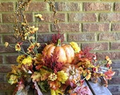 Home Decor Pumpkin Arrangement Centerpiece Floral Table Top Design