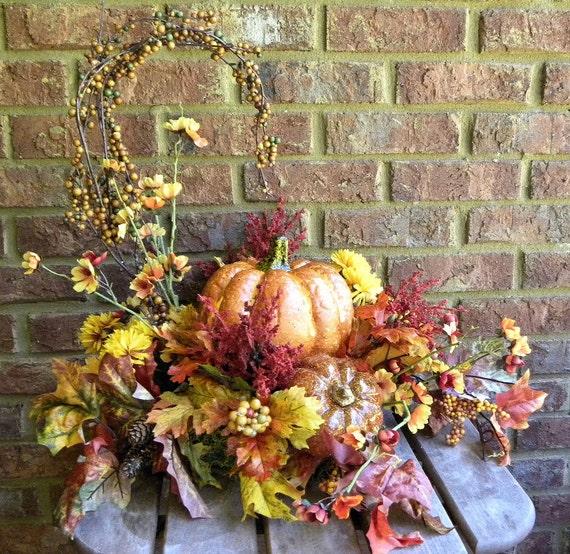 Items similar to home decor pumpkin arrangement