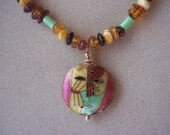 Amber and Gaspeite Necklace with Cloisonne Pendant