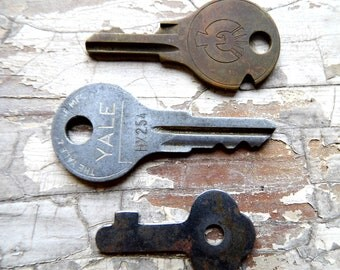 Tiny Keys, 3 Antique Keys, Vintage Key Metal for Crafts, Jewelry, Shadow Boxes from All Vintage Man