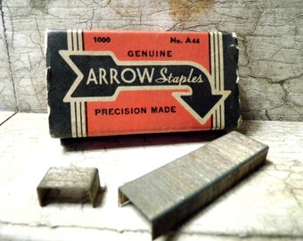 Vintage Office Supplies, Arrow Staples, Staples in Paper Box, No. A44, Industrial, Retro Mad Men