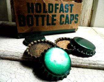 Vintage Bottle Caps, Green Metal, Cork, Industrial, 1940s, Bond Crown and Cork, Continental Can Co., Tavern, Brewing, Bar