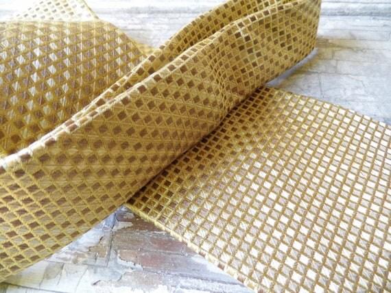Mens Necktie, Kenneth Cole Silk Neck Tie, Gold Mocha Geo Print, Vintage Appeal from All Vintage Man