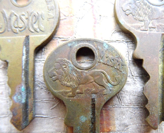 Tiny Keys, Lion, Antique, Brass, Stunning Lion Embossing, Matster Lock Keys for Crafts, Jewelry, Shadow Boxes from All Vintage Man