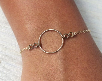 Gold Filled Infinity and Eternity Bracelet - Gold Circle Bracelet - Wedding Gift - Infinity Bracelet - Bridesmaid Gift