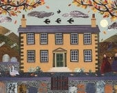 Brontë Sisters Print, Haworth Parsonage, Autumn, Naive Art, Collage, Moon, Geese,Wall Art,Yorkshire Moors, Jane Eyre, Wuthering Heights, Art
