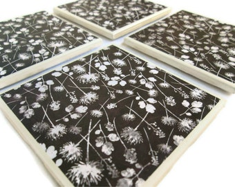 Dandelion Coasters, Brown with White Dandelions and Leaves