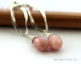 Pink Opal Earrings Sterling Silver Wedding  Earrings