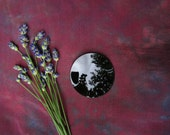 """Black Scrying Mirror, Handcrafted 2"""" Concave - with a Black Silk Wrap"""