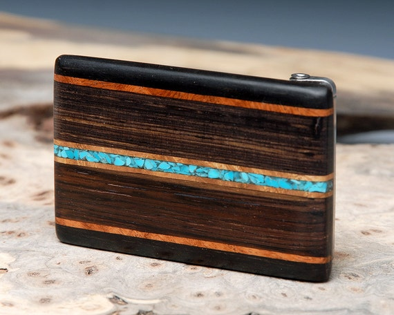 Exotic Wood & Turquoise Inlaid Belt Buckle - Handmade