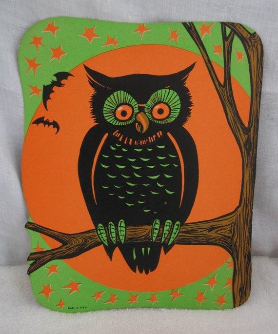 Vintage Beistle Halloween Owl in Tree
