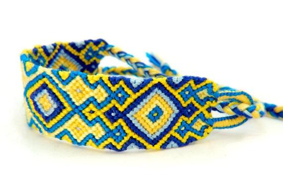 Wide Knotted Macrame Friendship Bracelet Cuff - Yellow & Blue Symmetrical Pattern