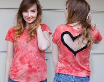 Tie Dye Heart Cut out Shirt Made to order Upcycled Heart shirt  Back Cut Out Shirt from BglorifiedBoutique
