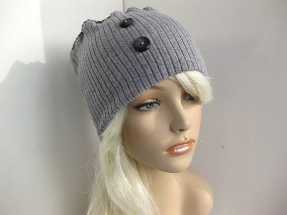 Head Warmer Upcycled Sweater Headband Winter Hat Circle Infinity Scarf Cowl Neck Warmer in Light Gray Grey Womens Eco Chic Style Accessories