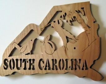 South Carolina State Shape Wood Cutout Sign Wall Art Detailed Design Decor