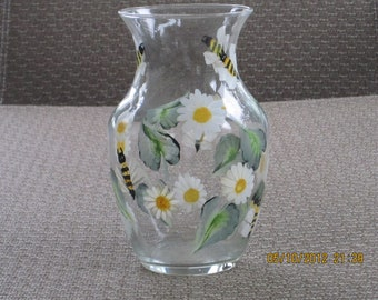 Vase with daisies and bumble bees hand painted
