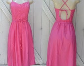 Pink Backless lace up 1970's summer dress