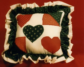 """Stuffed pillow Pattern For """"HEART and PATCHES PLLOW"""" Free Shipping"""