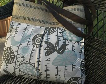 Grey and Blue Bird Handbag Tote with Jute Webbing