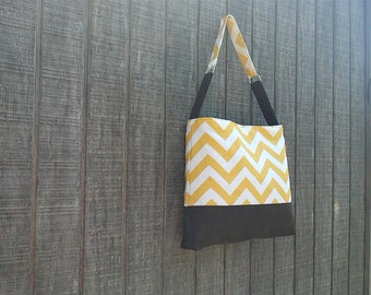 Handbag with Yellow Chevron Zig Zag Pattern with Brown