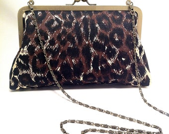 Leopard Print Clutch, patterned, purse, evening bag, hand bag, thrifted fabric, recycled fabric