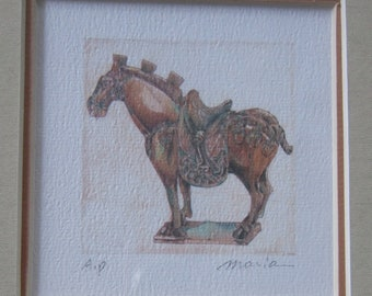 Vintage Asian Tang Horse 895 - Original Frame - Signed by Artist Hung Ci Yee Moria
