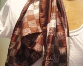 RESERVE FOR VIOLENHA/Vintage Chocolate and White Checkerboard Silk/Chinon Scarf