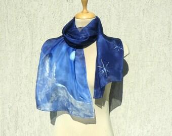 Snowy landscape Silk Scarf Blue silk scarf Snowflake silk scarf