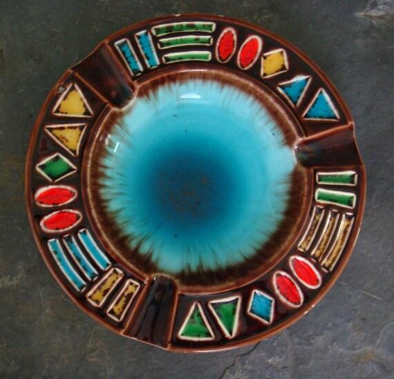 Vintage Ashtray Vintage Home Decor Turquoise Ashtray Vintage Barware Retrocorrect on Esty