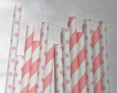 Pink Paper Straw Mix of Stripes and Mini Polka Dots, 50 Pack