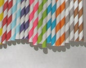 PRIORITY SHIPPING - Paper Straw, 100 Pack, Pick Your Color/s
