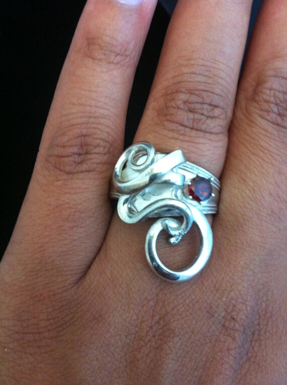 Sterling Silver fork ring with garnet