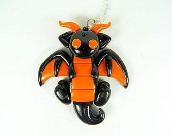 Kawaii Black Halloween Dragon Necklace Polymer Clay