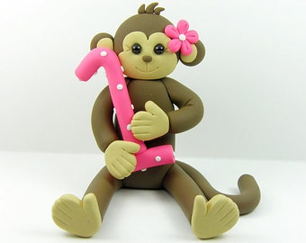Girl Monkey Birthday Cake Topper Polymer Clay