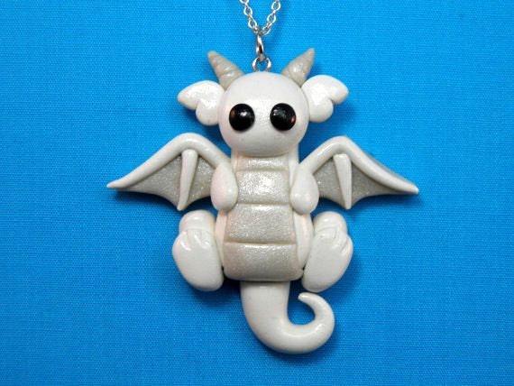 Kawaii White Snow Dragon Chunky Charm Necklace Pendant Jewelry