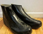 1950s Mens Black Galoshes // Rain Boots // Over Shoes
