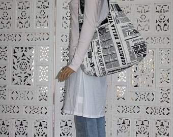 newspaper prints extra large hobo bag/newspaper shoulder bag/black white large hobo bag/newspaper printed purse
