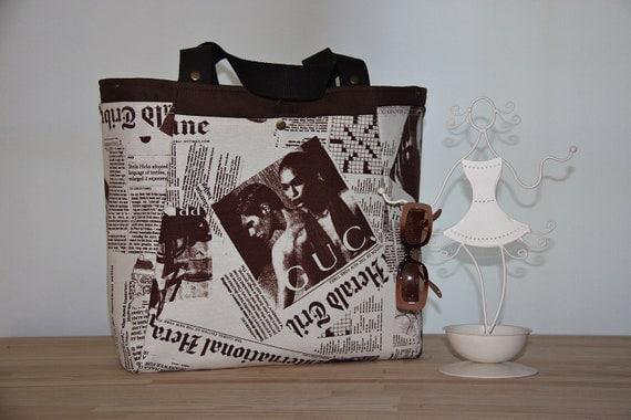 Newspaper  Prints Tote Bag- Extra Large Diaper Bag-Market ,Beach,Travel Bag-Chocolate Brown/Beige Shoulder Bag-Everyday Purse