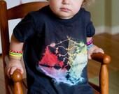 Black - Star - Mandala - Rainbow - Toddler T-Shirt - Short Sleeve - Cotton - Shibori -  4T
