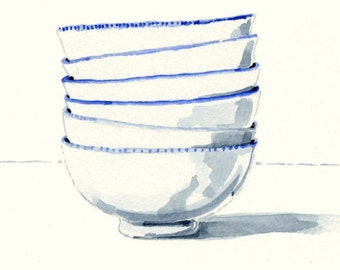 Art Print of Original Watercolor Painting -- Blue and White Bowls