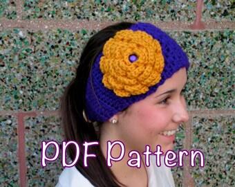 PATTERN:  School Spirit Ear warmer, Cheerleader head band, hair flower, hat, easy crochet ski, InStAnT DoWnLoAd PDF, Permission to Sell