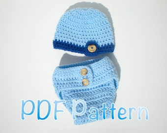 PATTERN:  Flap Bottom Diaper Cover and Beanie, Buttons, InStAnT DoWnLoAd, easy crochet pdf, Newborn Baby Boy, Permission to Sell