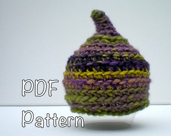 PATTERN:  Pixie Baby hat, gnome elf pointed hat easy crochet PDF InStAnT DoWnLoAd, newborn size, Permission to Sell