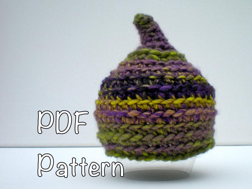 Newborn Gnome Hat Crochet Pattern : PATTERN: Pixie Baby hat gnome elf pointed hat easy crochet