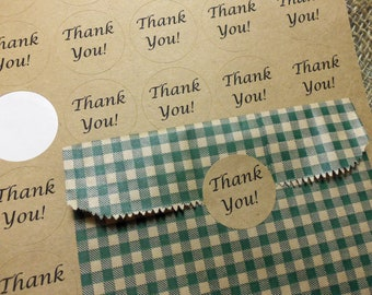 "Thank You Stickers, 60 1.5"" Thank You Kraft Stickers, Round Peel and Stick"