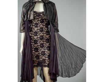 Womens repurposed formal shrug jacket coat vintage S-M
