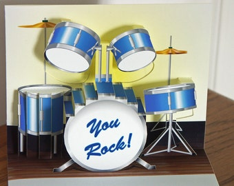 Pop up Blue Drum set Birthday Card You Rock